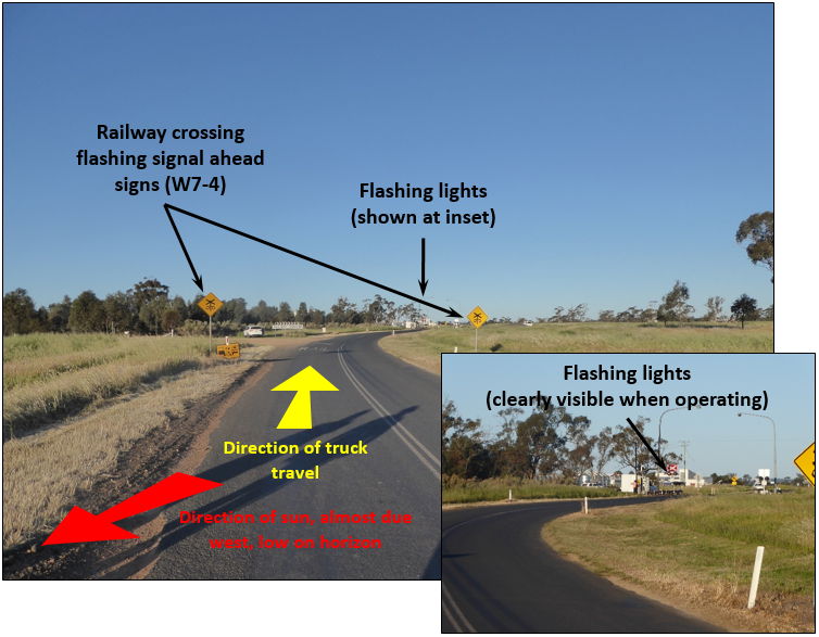 Figure 13:	Photo taken at 1715 (4 days after the collision), about 200 m (Inset 30 x zoom) from railway crossing. Sun almost directly behind road-train truck, its position (azimuth and altitude) was similar to that just before collision