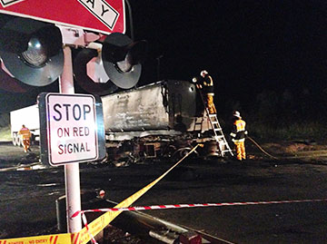Accident site of the tragic collision between a road-train truck and grain train on the main line between Narromine and Peak Hill at the Tullamore – Narromine Road railway crossing, near Narromine, in NSW.