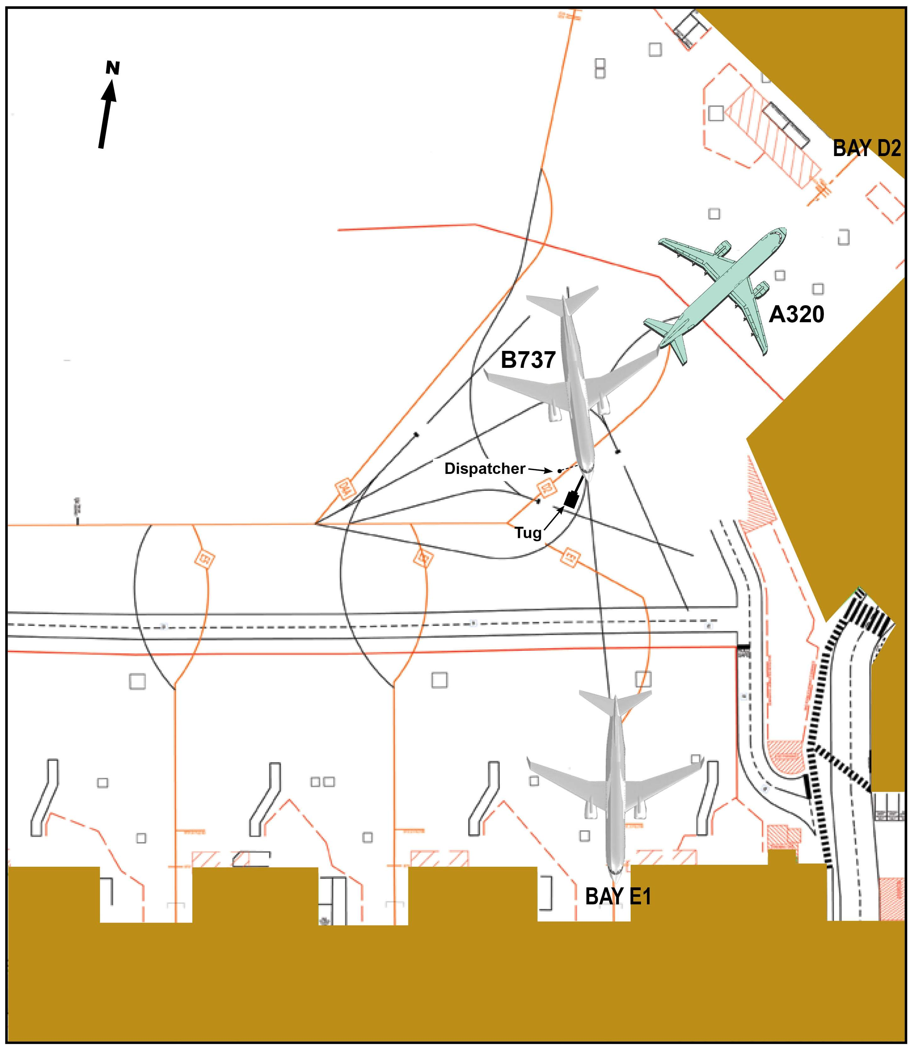 Figure 1: Position of A320 VGR (in green), holding short of gate D2, and B737 YID (in grey) during pushback from Bay E1 at the time of the collision. The position of the dispatcher and tug for YID are also shown