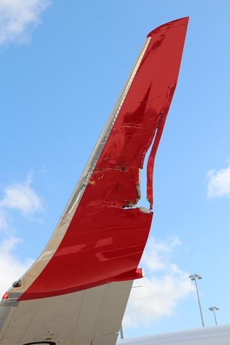 Figure 2: Damage to the left wingtip of YID