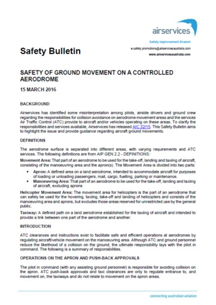 Appendix A – Airservices safety bulletin