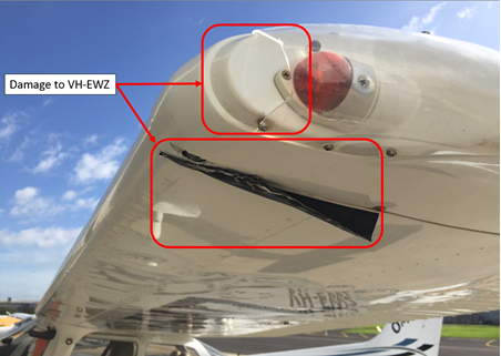 Figure 3: Damage to left wing of VH-EWZ