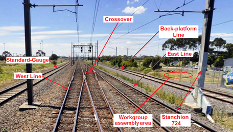 The accident site, viewed in the direction of train travel