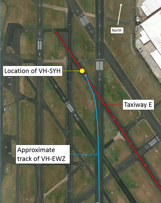 Figure 1: Moorabbin Airport showing location of collision