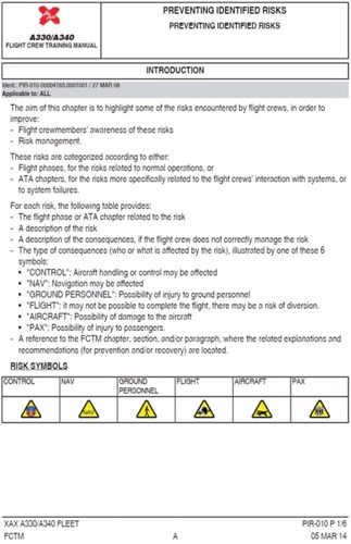 Appendix B – Flight crew training manual extract