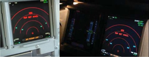 Figure 5: Simulator recreation of the captain's PFD and ND after the ADIRU 1 and 3 switches were selected off. Note the GPS PRIMARY LOST message (in amber) at the base of the photographs and the HDG and MAP NOT AVAIL message (in red) at the centre-upper of the photographs