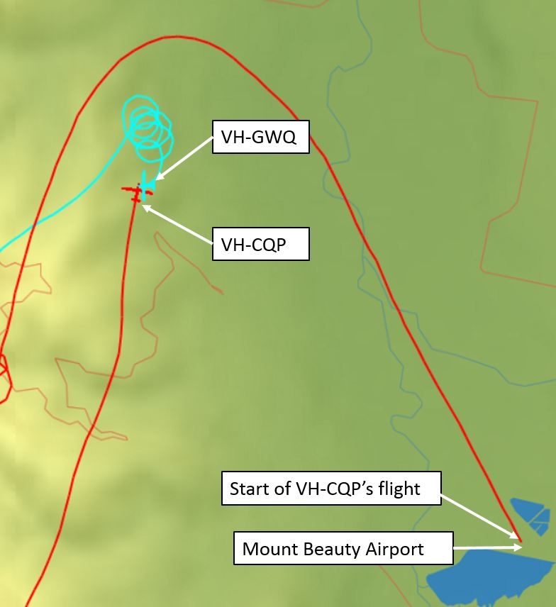 Figure 1: Relative tracks of gliders VH-GWQ and VH-CQP and positions at 1355:02