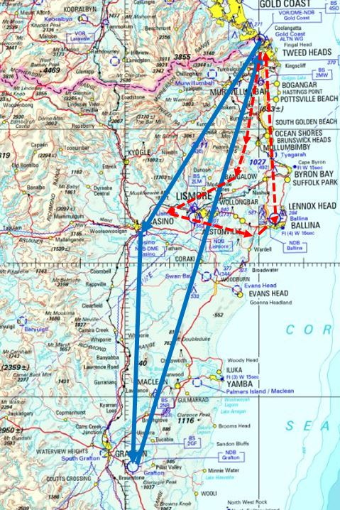 Figure 1: Flight planned track (blue), approximate track flown (red)