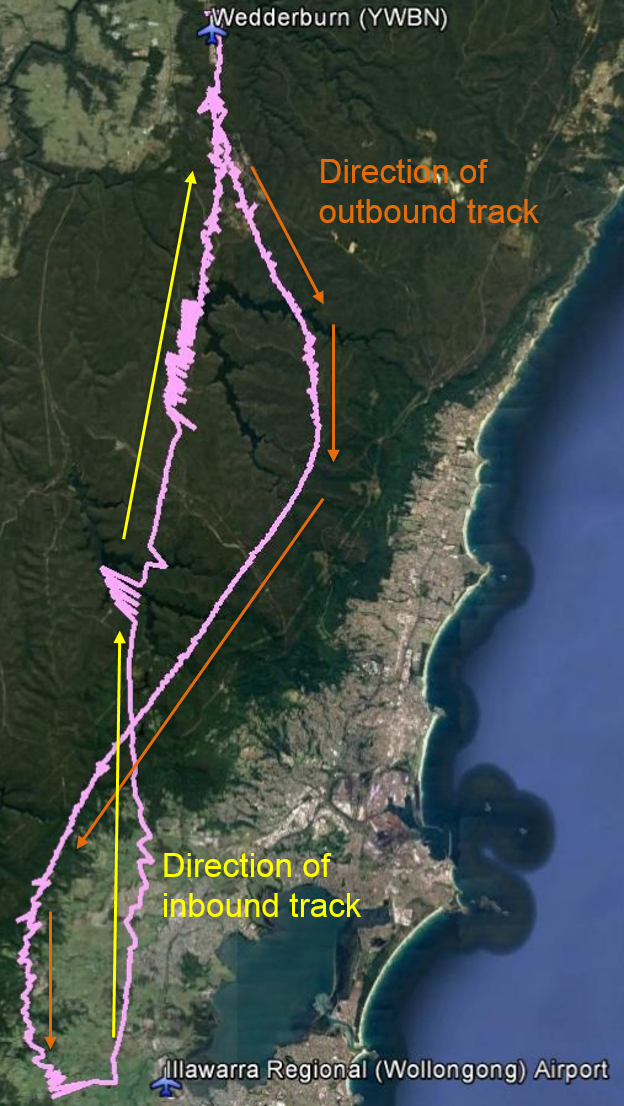 Figure 1: Radar trace of the aircraft that appeared on Airservices Australia surveillance radar in the area of Wedderburn Airport at 1628 (at left, with the aircraft's radar returns shown in lilac) and the radar trace and returns (also in lilac) overlaid on Google earth (right)