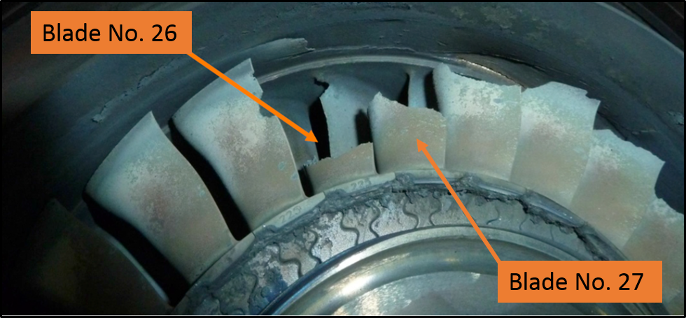 Figure 5: Blade No. 26 and damage to the adjacent blades