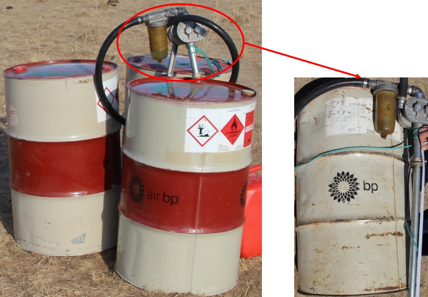 Figure 7: Drum fuel supply with a close-up (right) of the older, rusty and dented Avgas fuel drum. The left picture shows the drum fuel hand pump positioned in the newer of the two open drums