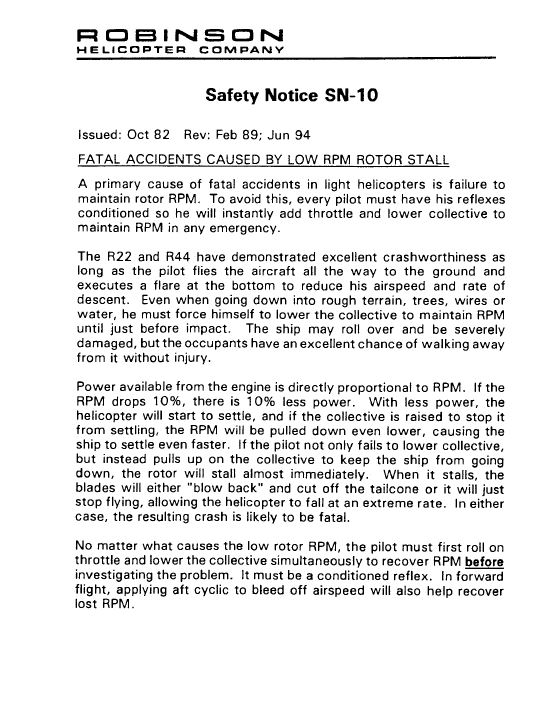 Appendix A – Robinson Helicopter Company Safety Notices SN-10