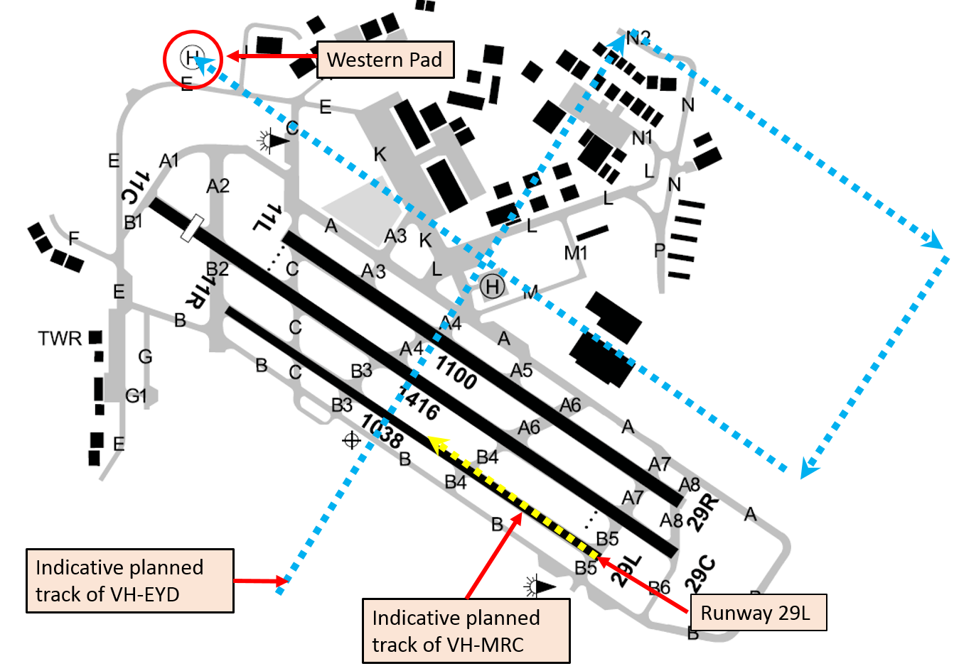 Figure 2: Indicative aircraft tracks