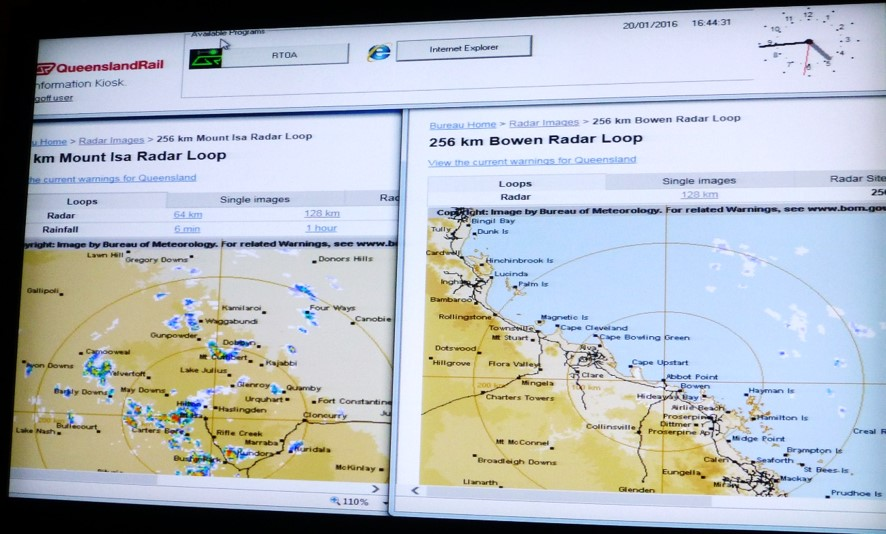 Figure 17: Monitor at Townsville Control Centre displaying BoM radar images