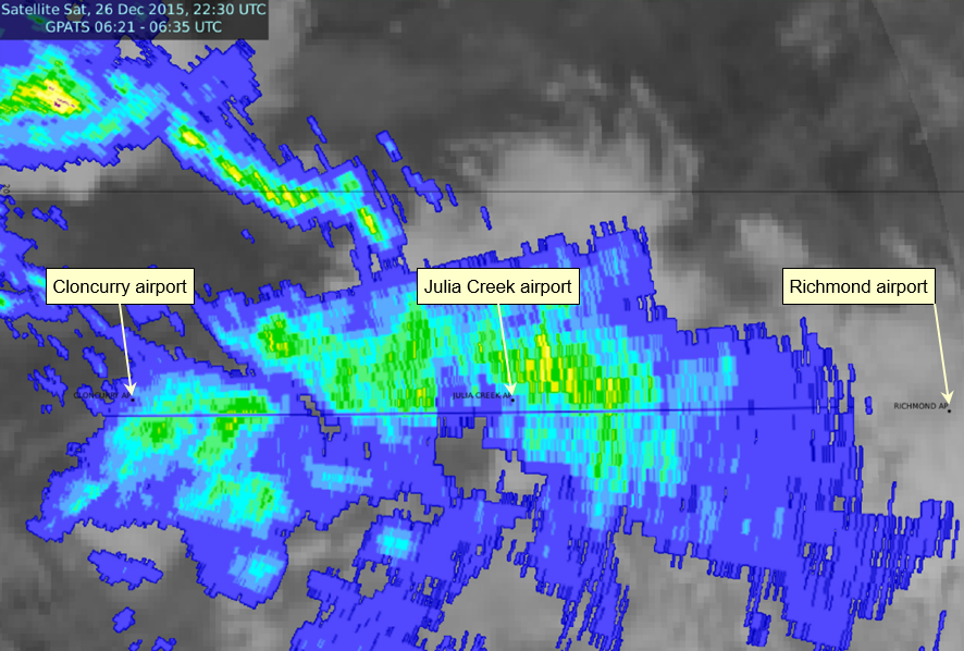 Figure 19: Combined satellite and radar reflectivity imagery over north-western Queensland at 0830