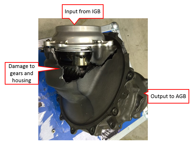 Figure 2: Transfer gearbox damage