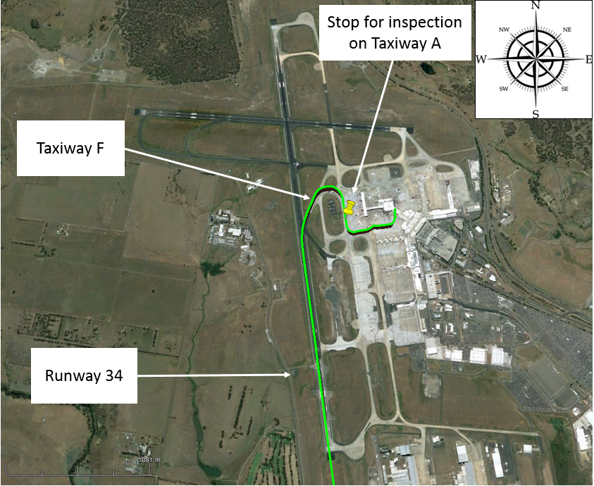Figure 1: Aircraft ground track at Melbourne Airport