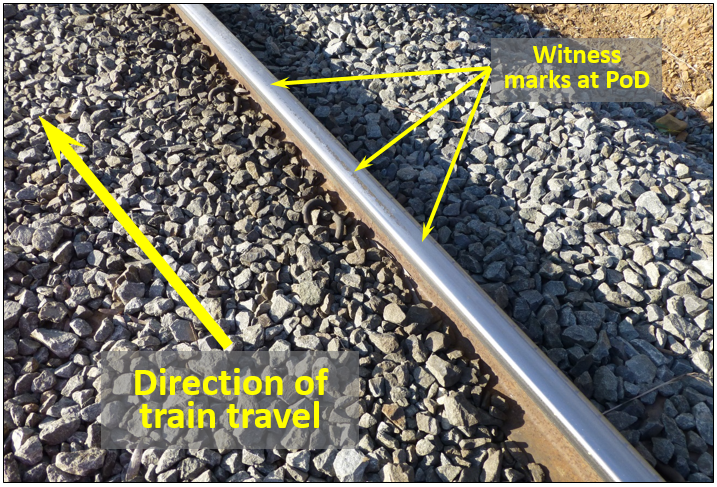 Figure 8: Witness marks at PoD (95.185 km) shown by line of arrows on railhead