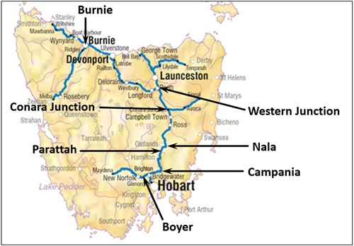 Figure 1: Location map – TasRail network