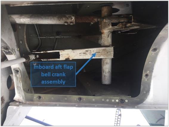 Flap system failure and loss of control involving a Cessna 208 at Townsville, QLD on 10 November 2015 (ATSB investigation AO 2015 133) – inboard aft flap bell crank assembly. Source: Operator.