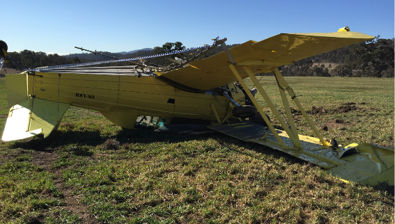 Collision with terrain of a Grumman G 164B following a loss of control near Tharwa, ACT on 6 August 2015. Source: Pilot
