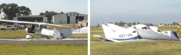 Collision between a Cessna 172 and a Piper PA 28 at Moorabbin Aerodrome, VIC on 11 April 2015. Source: Aircraft operator.