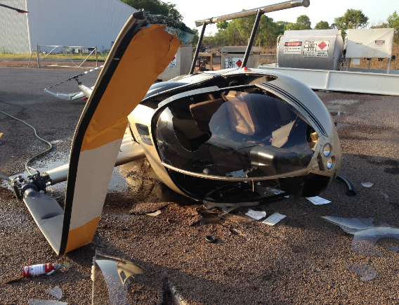 Collision with terrain of a Robinson R44 at Darwin Aerodrome, NT on 7 October 2015. Source: Aircraft operator.