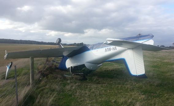 Collision with terrain of a Victa Airtourer 115 at Leongatha Aerodrome, VIC on 29 May 2015. Source: Aircraft operator