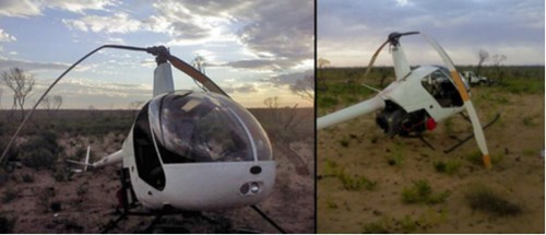 Collision with terrain of Robinson R22 near Kalibarri, WA on 11 February 2015. Source: Pilot.