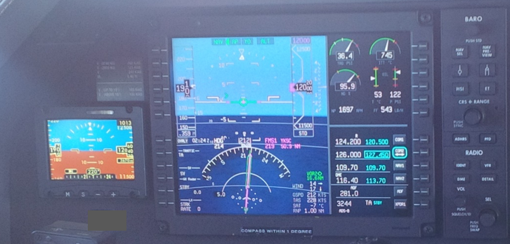 Figure 7: Electronic standby indicator and main PFD in flight (not OWA)