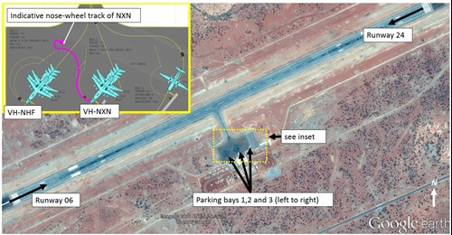 Figure 1: Paraburdoo Airport showing runways and parking bays