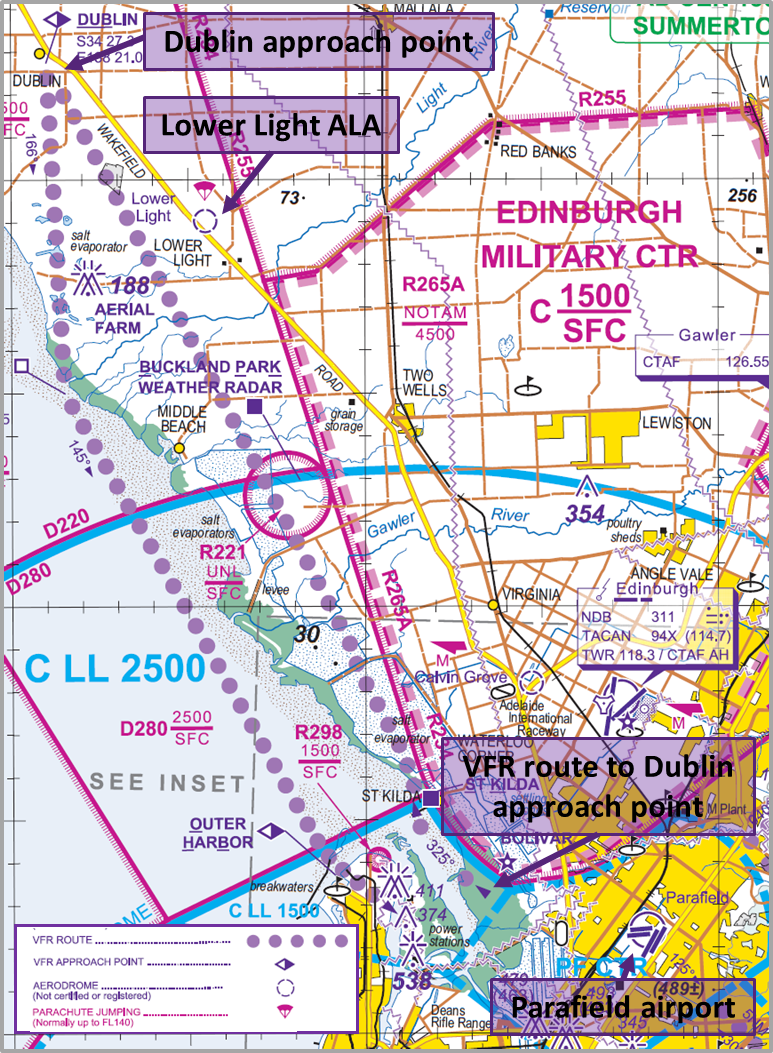 Figure 2: Visual Terminal Chart showing Dublin, Lower Light ALA, VFR route