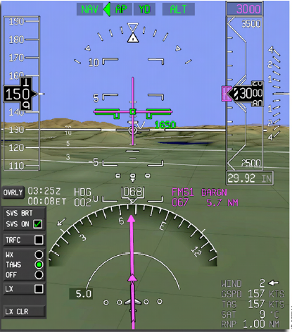 Figure 4: Synthetic vision system example display