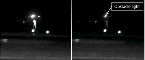 Figure 4: Flashing primary wind indicator showing the windsock illuminated when the runway lights were active (left) and not illuminated (right)