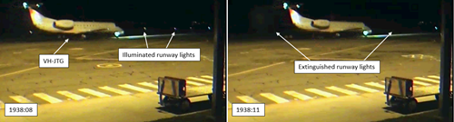 Figure 3: JTG taxiing on 28 August with runway lights illuminated (left) and then extinguished (right)