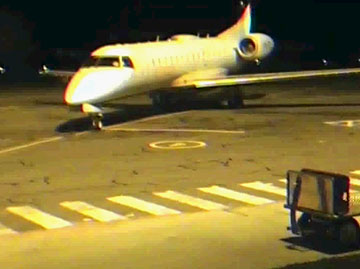 Embraer aircraft at Tamworth, NSW parked showing runway lights not activated