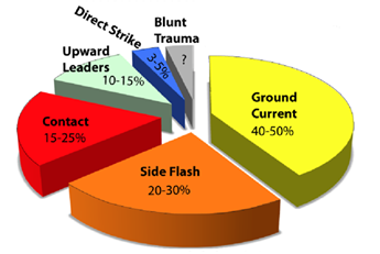 Figure 6: Pie chart of Canadian lightning strike types and annual injury percentages