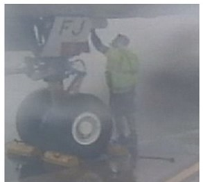 Figure 2: Perth Airport ramp closed-circuit television images showing the RS at the nose landing gear of XFJ