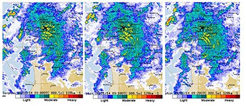 Figure 5: BoM weather radar screen captures of the weather at Perth Airport from 1700 to 1720 (0900 to 0920 UTC) on 26 November 2014 showing consistent light-to-moderate rain