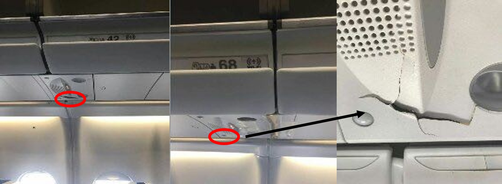 Figure 1: Damage to cabin (row 42, and 68 passenger service unit)Figure 1: Damage to cabin (row 42, and 68 passenger service unit)