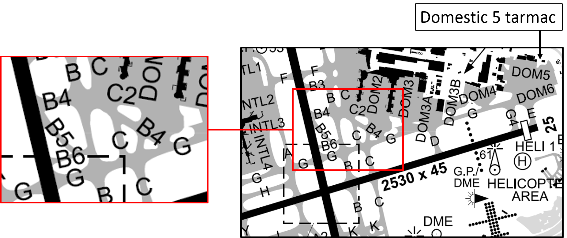 Figure 1: Excerpt from aerodrome chart showing the location of the relevant taxiways