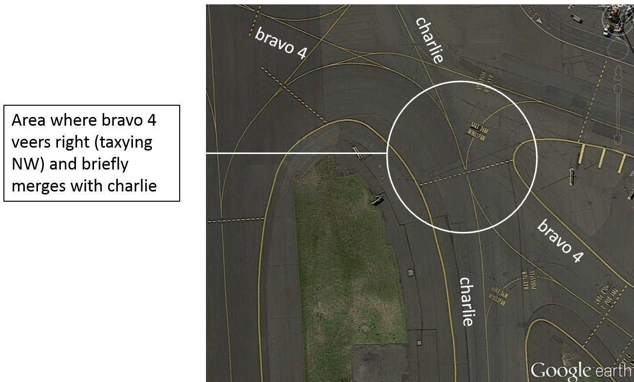 Figure 3: Taxiway intersection showing the area where bravo 4 veers right (taxying NW) and bravo 4 and charlie merge for a short distance