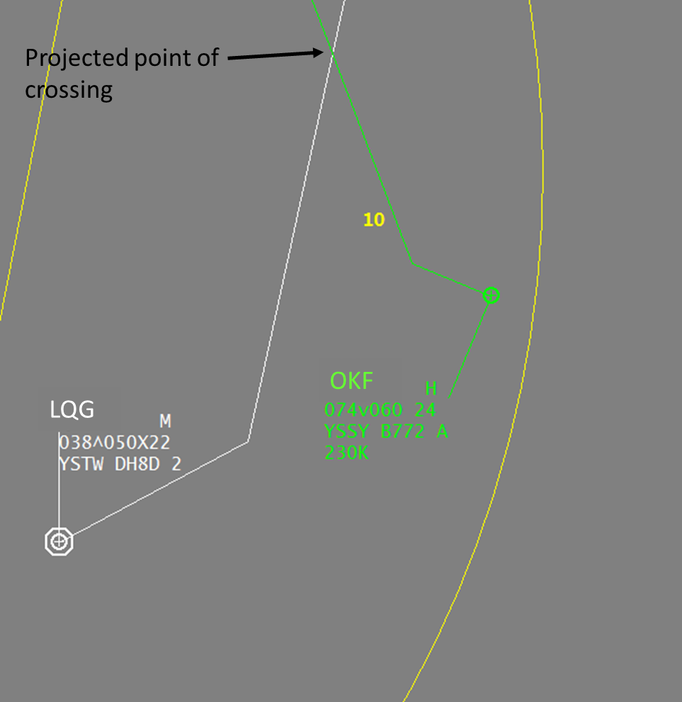 Figure 1: Disposition of aircraft when LQG was passing 3,800 ft direct KAMBA and showing the projected point of crossing.