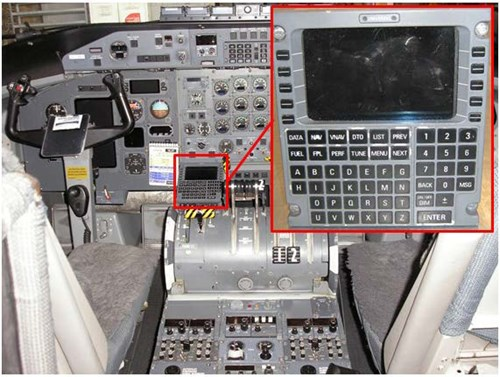 Figure 1: DHC-8-315 instrument panel showing the location of the FMS on the captain's side of the centre console (detailed view of the FMS at inset)