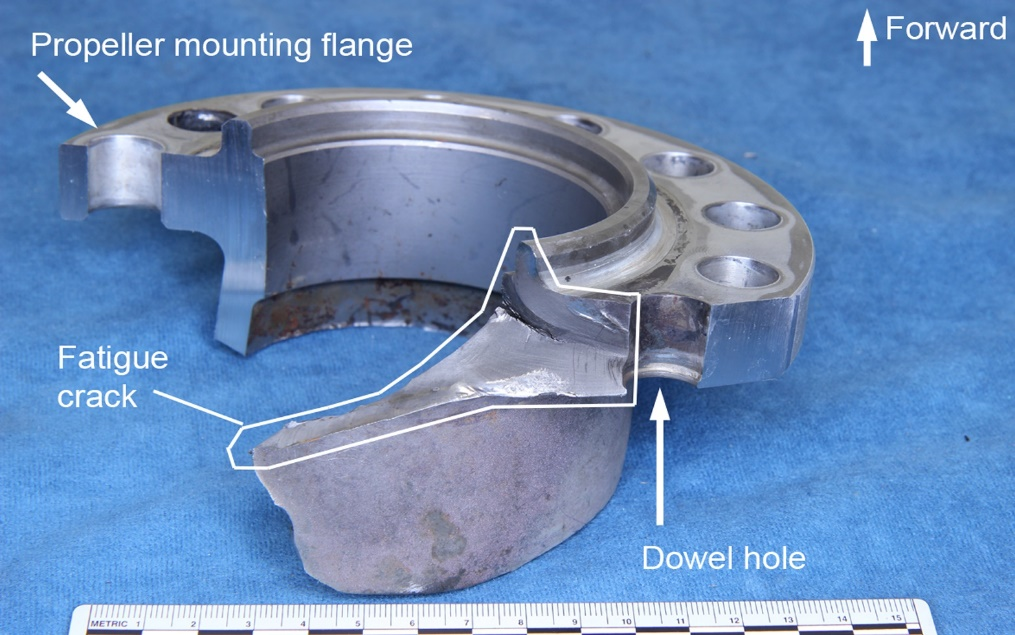 Figure 4: Section of the propeller shaft showing the fatigue crack originating at the dowel hole and progressing into the shaft itself