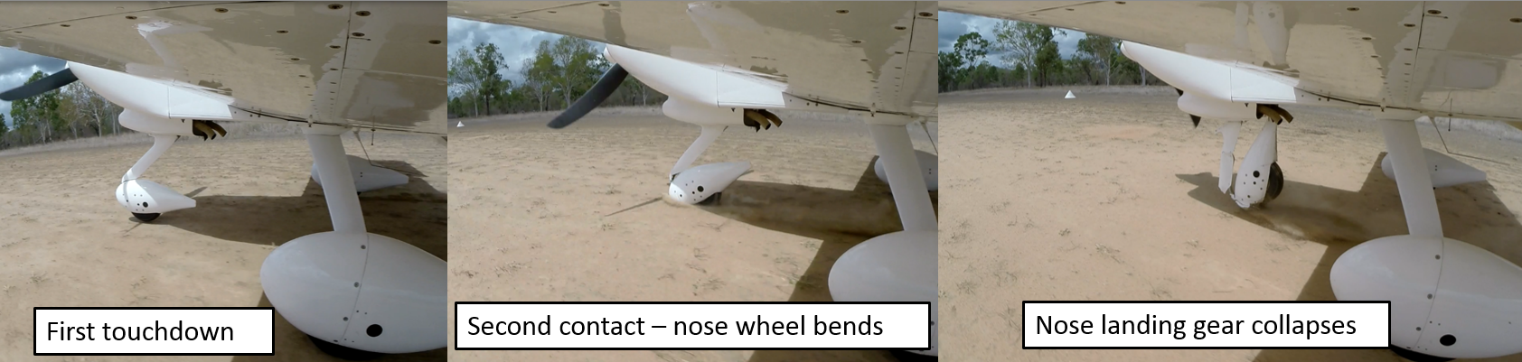 Figure 2: Landing sequence with collapse of nose landing gear