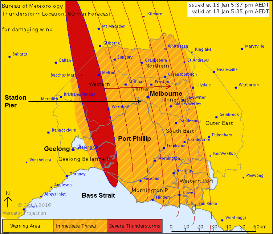 Figure 2: Map issued with the severe thunderstorm warning at 1737 on 13 January