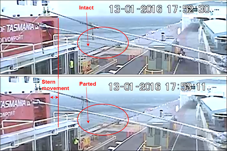 Figure 11: CCTV images showing the ship moving off the wharf and the first line parting