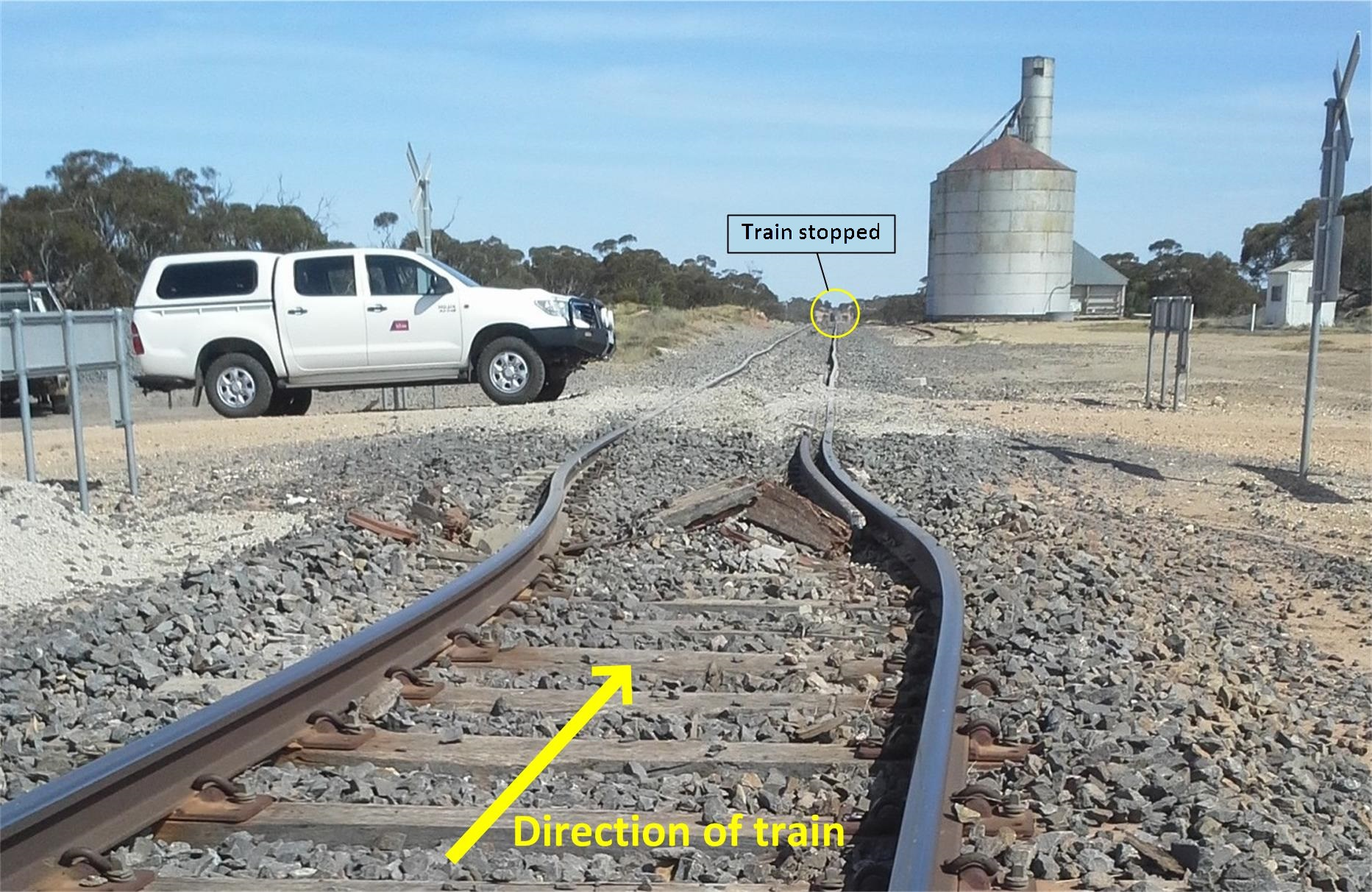 Figure 2: Laterally displaced track just prior to the Janiels Road level crossing, looking in the train's direction of travel.