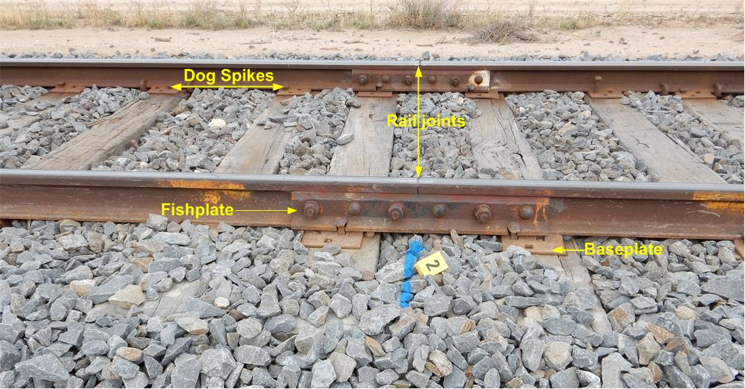 Figure 4: Typical track condition at Nunga showing joints, rail fixtures and ballast